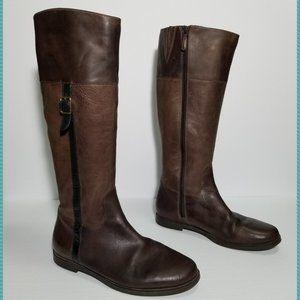 Cole Haan Dark Brown Leather Eldridge Riding Boots